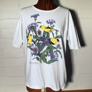 Goldfinches & Cornflowers White Short sleeve Tee L